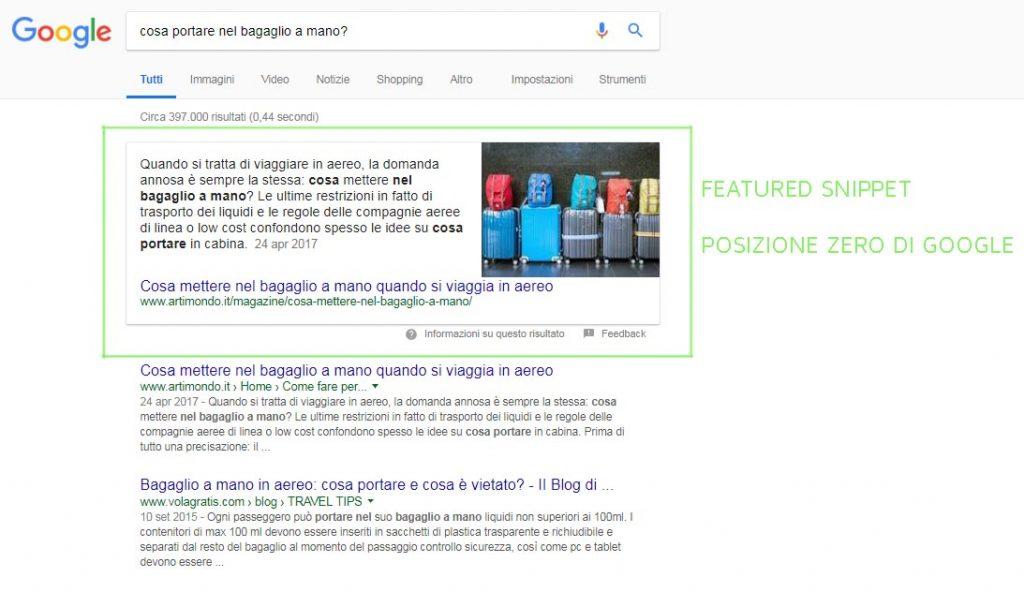 posizione zero di Google